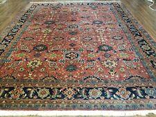 8' X 10' Vintage Hand Made Indo Heriz Serapi Wool Rug Carpet Rusted Red Nice