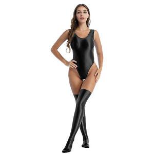 2Pcs Women's Scoop Neck Bodysuit Sleeveless Leotard Stockings Elastic Shiny Top