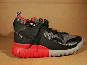 Adidas MEN'S TUBULAR X PRIMEKNIT Sz 9.5 Black Red Athletic Sneakers SHOES