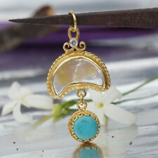 Omer 925 Sterling Silver Crescent Pearl Turquoise Pendant 24k Yellow Gold Plated