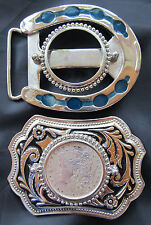 1881 Morgan Silver Dollar Belt Buckles Lot of 2 Western & Horseshoe 1 Coin