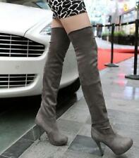 Sexy womens knee high boots heel stiletto Suede Pull On party platform shoes Fz