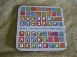 AWESOME ANAGRAMS ~ PUZZLE BOOK & MAGNETS IN METAL TIN SEALED