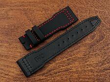 IWC Pilot Waterproof Cuir Veritable Watch Strap Leather Black Trim Red 0 7/8in