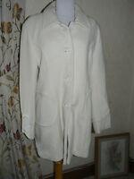Ladies Cream Coat  Wool Cashmere Blend Size 16