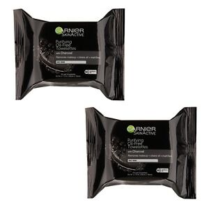 Lot Of 2 Garnier SkinActive Clean+ Charcoal Oil-Free Makeup Remover Wipes 25 Ct