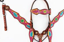 PINK YELLOW WESTERN BARREL LEATHER HORSE BRIDLE HEADSTALL BREASTCOLLAR TACK SET