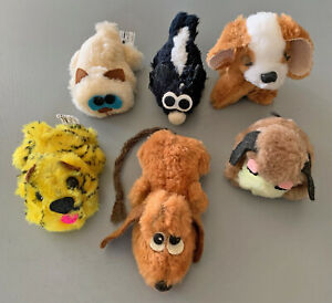 Vintage lot 1970s 5 Wallace Berrie+1 Russ Berrie Mini Plush dogs cat skunk tiger