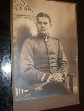 Cdv cabinet photograph soldier in ornate grand chair Germany c1900s