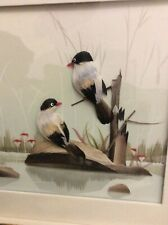 Beautiful Framed Diorama Of Two Birds With Real Feathers At A Pond