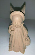 Jim Shore Unfinished Unpainted Girl Bunny Figurine Holding Basket of Eggs in Lef