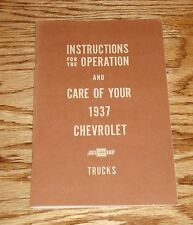 1937 Chevrolet Truck Owners Operators Manual 37 Chevy Pickup