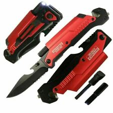 """8.5"""" TACTICAL MULTI-FUNCTIONAL LED Spring Assisted Pocket Knife Outdoor Rescue"""