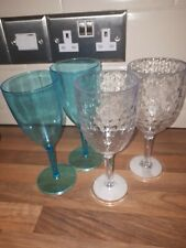 4x Clear Blue Plastic Glasses Picnic BBQ Outdoor