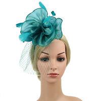Fascinators Hat Sinamay Flower Mesh Feathers Hair Clip Headband Tea Party Women