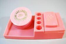 Vintage Pink Vanity / Dresser Set Tray Powder Containers Plastic - Mid Century