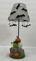 Halloween Tealight Holder with Glass Shade, Hanging Bats, Mummy & Frankenstein