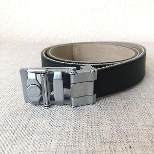 Anson Belt & Buckle Leather Belt Men's Silver Buckle Black Leather Reversible
