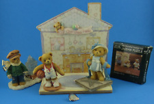 Cherished Teddies Lot Family Display 3 Figures James Bette Larry Puzzle & Pin