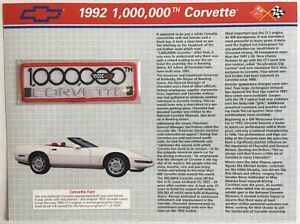 1992 CORVETTE Willabee & Ward OFFICIAL PATCH COLLECTION CARD  Millionth Corvette