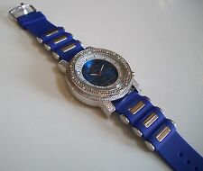 MEN'S BLUE/SILVER FINISH SILICONE BAND  HIP HOP RAPPER STYLE FASHION WATCH
