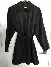Isaac Mizrahi Couture Size S Black Nylon Belted Trench Coat Raincoat EUC