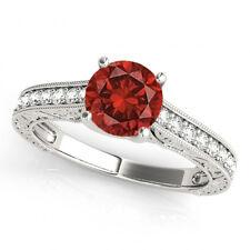 1.25 Carat Red Solitaire Round I1 Diamond Ring 14k Gold Valentineday Spl.Sale