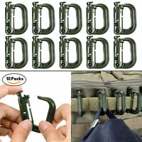10 Pcs Army Green Clips for Molle Webbing Multipurpose Grimloc D-Ring with Pouch