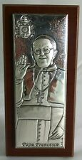 POPE FRANCIS 3D Plaque & Stand Francesco Silver Tone Wooden RM Argenti (Italy)