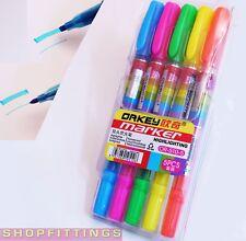 5x Highlighter Marker Pen School MIXED FLUORESCENT COLOURS Chisel Bullet Tip