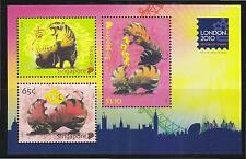 SINGAPORE 2010 LONDON 2010 STAMP FESTIVAL SHEET OF 3 STAMPS (YEAR OF TIGER) MINT