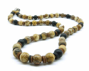 Mens Necklace - Unisex Surfer Necklace with Matte Brown Jasper and Black Onyx