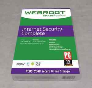WEBROOT SECURE ANYWHERE INTERNET SECURITY COMPLETE  5 Devices 1Year NEW