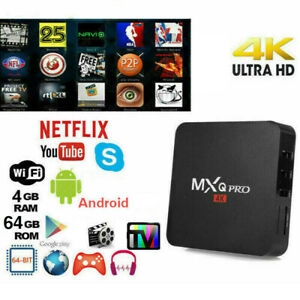 TV BOX ANDROID 10 4K FULL HD 1080P 4GB 64GB RAM SMART DECODER WIFI MXQ PRO