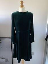 Beautiful A-line Hobbs Emerald Velvet Dress Size 12 RRP£199