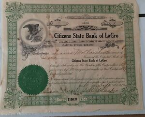 $100 CITIZENS STATE BANK OF LAGRO, IN (Wabash Co.) 1912