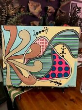 Patterns in the Whirligig Orig Abstract Painting on Canvas MCM Mid Century Insp.