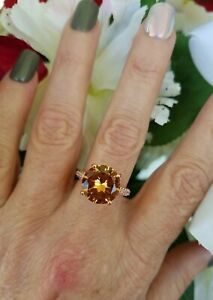 Round Cut Imperial Topaz Solitaire Ring, 18KRG/925, Sz 6