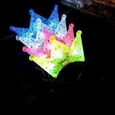 Girls LED Light Hair Hoop 3D Hollow Out Crown Flashing Blinking Tiara Headband