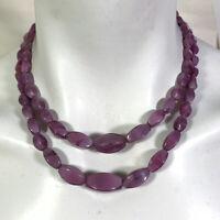Double Strand Purple Lozenge Shape Graduated Glass Bead Necklace 1950s Style