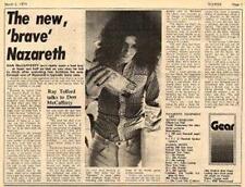 Nazareth UK Interview Article 1974