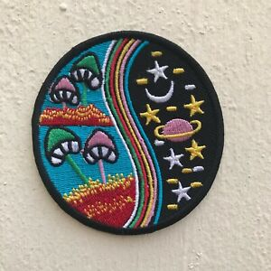 Yin Yang Mushroom Rainbow Blue Nature World Galaxy Iron/Sew on Embroidered Patch