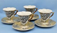 D'LUSSO CHINA SET OF 4 DEMITASSE CUPS AND SAUCERS