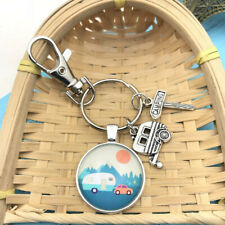 1 Pcs Happy Camper Keychain with Camper Charm Camping Keychain Pendant 3822