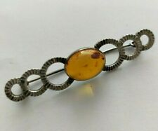 New Baltic Amber And Silver Bar Brooch