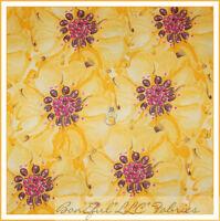 BonEful Fabric FQ Cotton Quilt VTG Moda Yellow Pink Dot Sun Flower Spring Garden