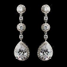6b Elegant Antique Style Bridal Silver Plt cz Cubic Zirconia Teardrop Earrings