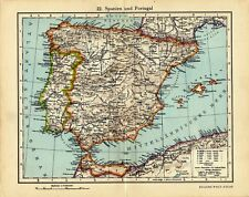 Antique map Spain and Portugal 1928