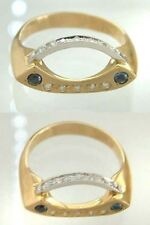 Designer Ring mit Brillant + Saphir - Gold 585 - Goldring 14 kt - Brillantring