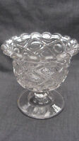1850s EAPG Pattern Glass Flint Diamond Thumbprint Diamond Concave Sugar Bowl